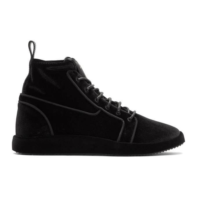 Giuseppe Zanotti Black Velvet Gruber Sock Sneakers