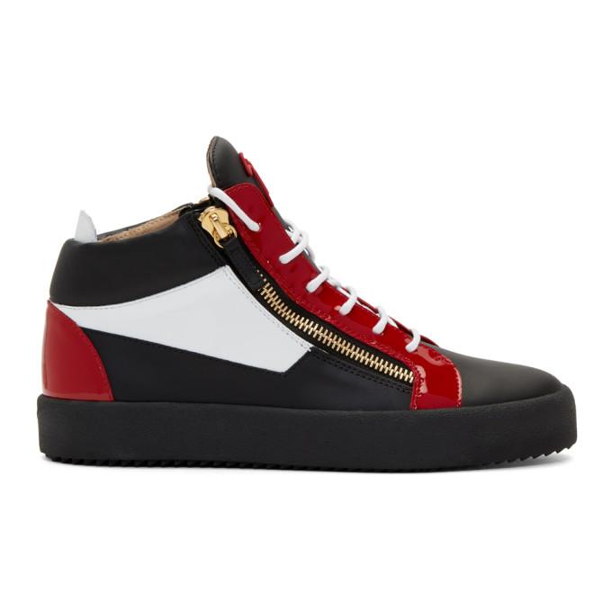 Giuseppe Zanotti Black & Red May London High-Top Sneakers