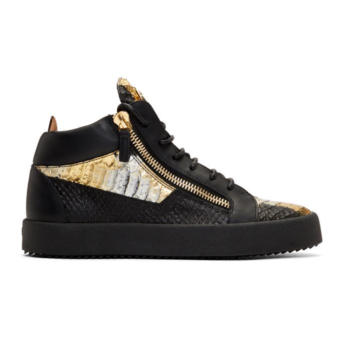 Giuseppe Zanotti Black & Gold May London Kokis High-Top Sneakers