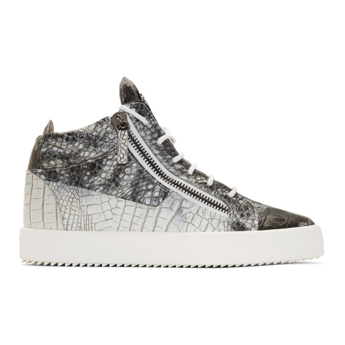 GIUSEPPE ZANOTTI GREY AND WHITE MAY LONDON HIGH-TOP SNEAKERS