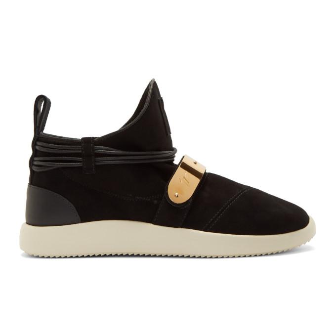Giuseppe Zanotti Black Suede Hayden High-Top Sneakers