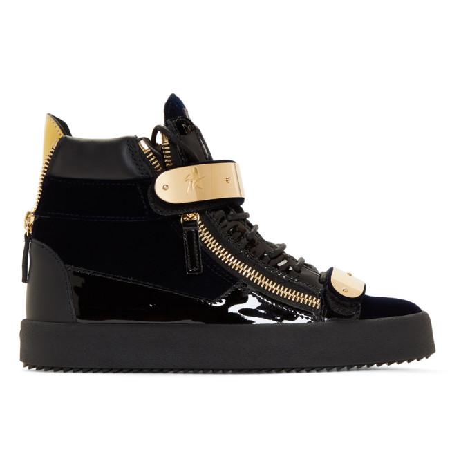 Giuseppe Zanotti Navy & Velvet May London Sneakers Sale Deals sDkDQr8
