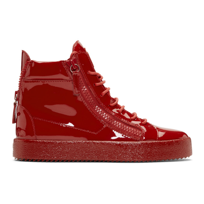 4171a794960e3 Giuseppe Zanotti Red Patent May London High Top Sneakers