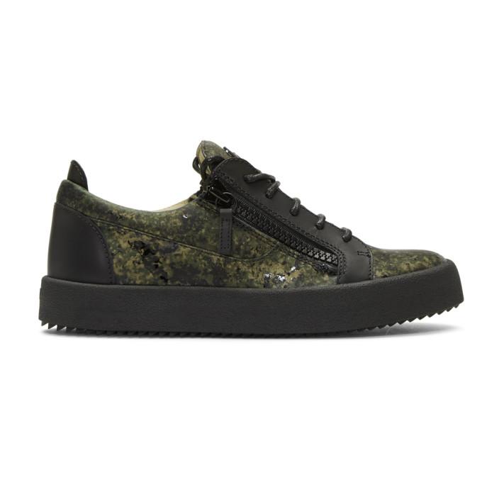 Giuseppe Zanotti Black & Green Camouflage May London Sneakers