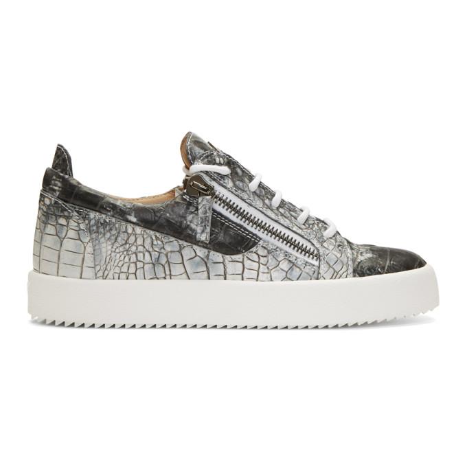 Giuseppe Zanotti Grey & White Croc May London Sneakers