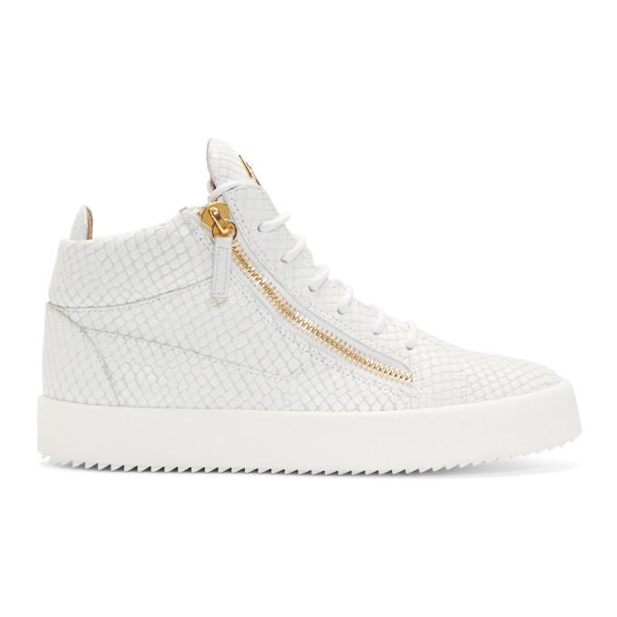 Giuseppe Zanotti White Snake May London Gigas High-Top Sneakers