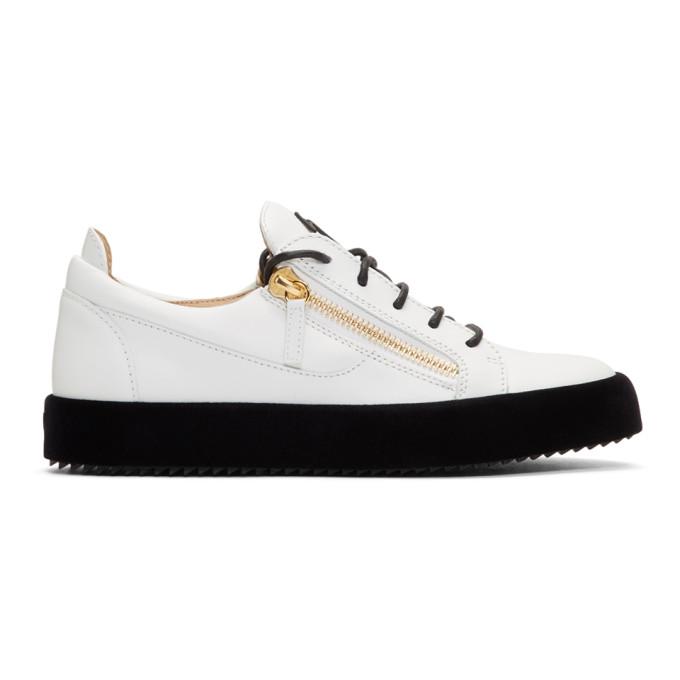 Giuseppe Zanotti White Velvet Sole May London Sneakers