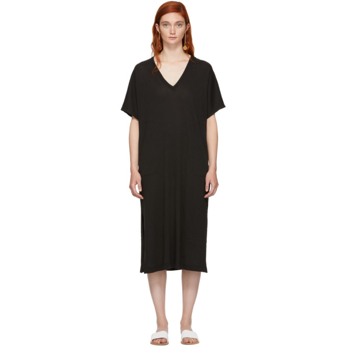 Image of Raquel Allegra Black Boxy V-Neck Dress