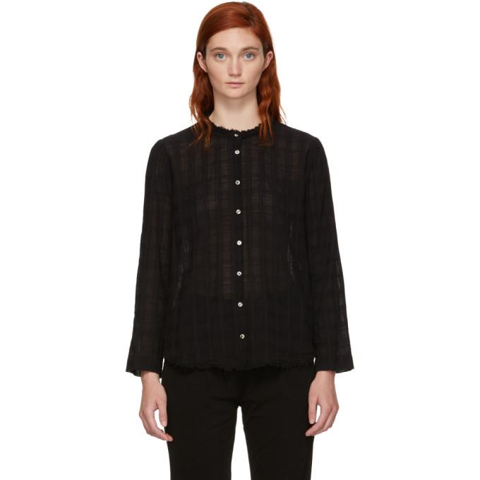 Image of Raquel Allegra Black Plaid Gauze Shirt