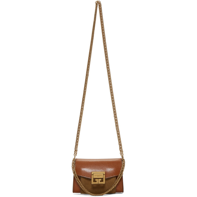 Givency Nano Gv3 Leather & Suede Crossbody Bag - Brown, Chestnut
