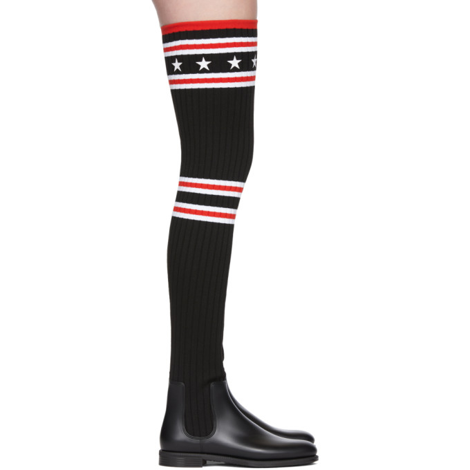 Givenchy Black Over-the-Knee Sock Rain Boots