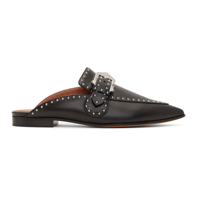 Givenchy Black Studded Buckle Slippers