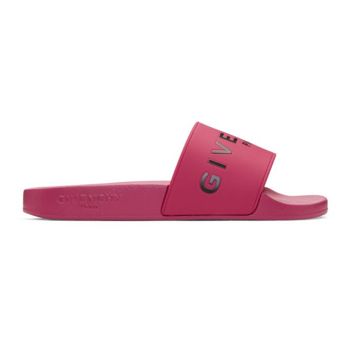 Givenchy Pink Rubber Logo Slides