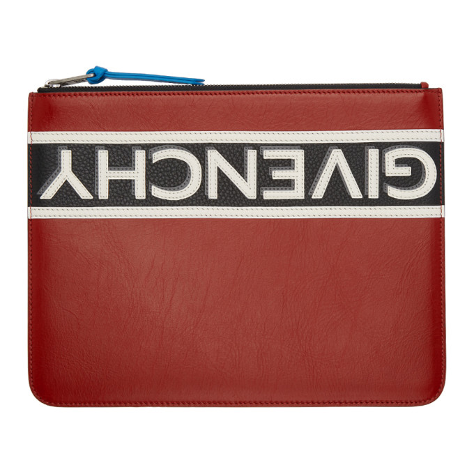 Givenchy Red Reverse Zip Pouch