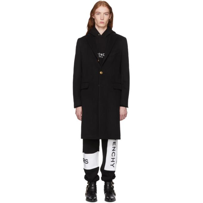 Givenchy ブラック ウール & カシミア 4G ボタン コート