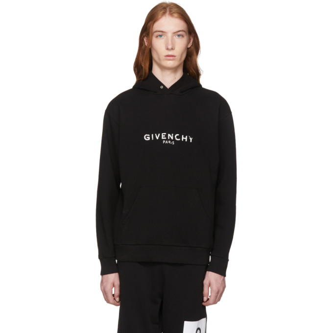 Givenchy Logo-Embroidered Cotton-Jersey Hooded Sweatshirt In Black