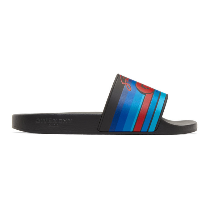 Givenchy Black 'GV World Tour' Motocross Pool Slides