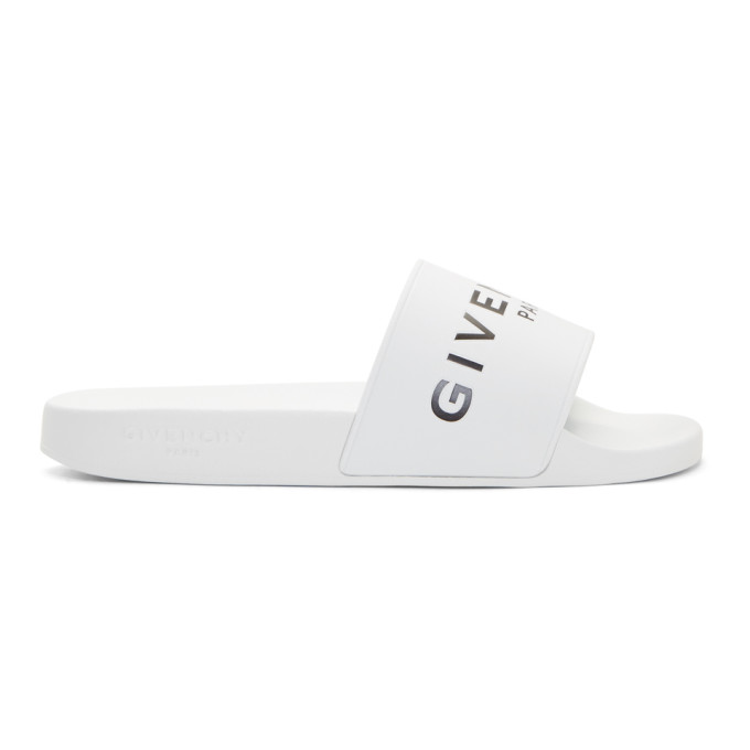 Givenchy White Logo Pool Slides