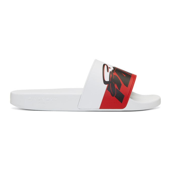 Givenchy White Motorcross Print Slides
