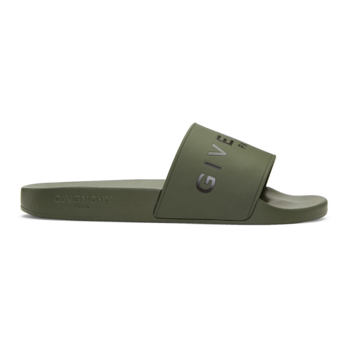 Givenchy Khaki Logo Pool Slides