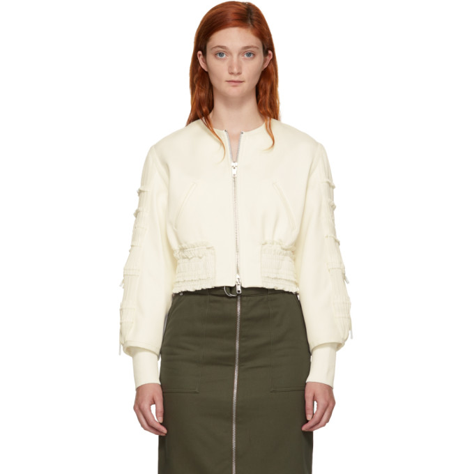 31 Phillip Lim Off White Gathered Sleeve Bomber Jacket