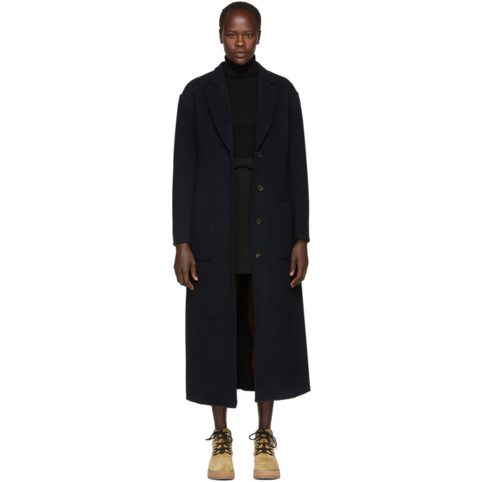 31 Phillip Lim Navy Wool Double Faced Tailored Coat