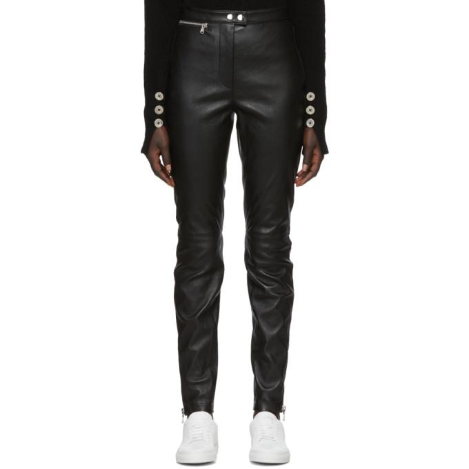 31 Phillip Lim Black Leather Moto Stretch Leggings