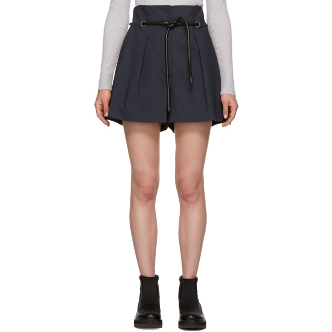 31 Phillip Lim Navy Origami Pleated Shorts
