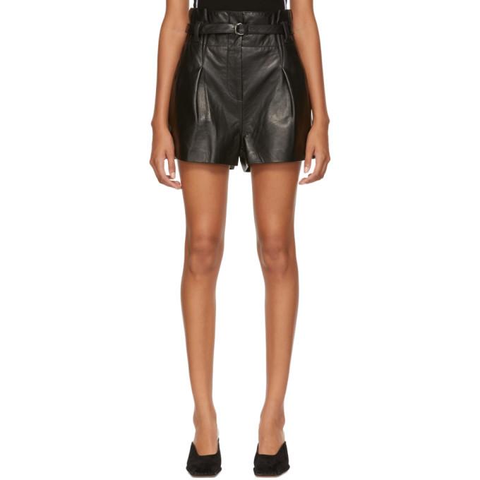 31 Phillip Lim Black Leather Origami Shorts