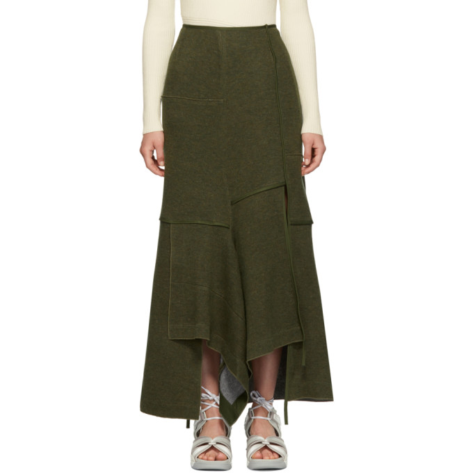 31 Phillip Lim Green Military Patch Wool Skirt