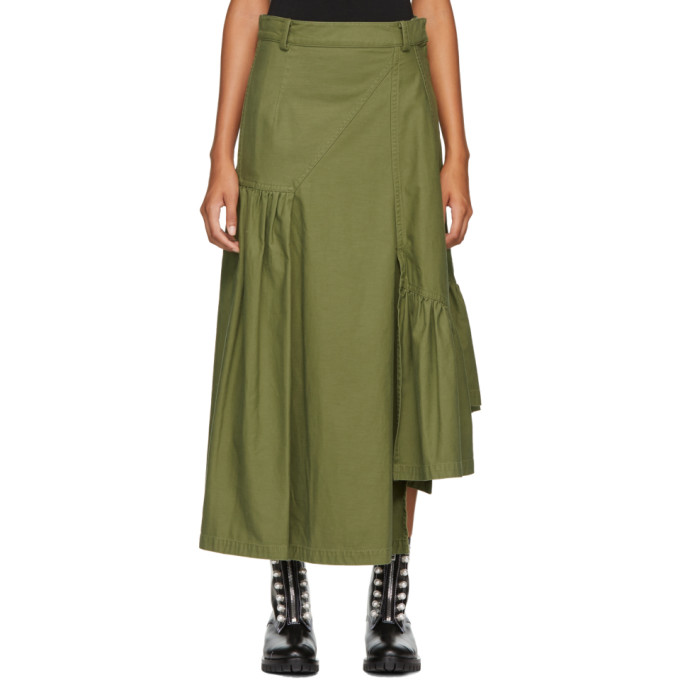 31 Phillip Lim Green Layered Utility Maxi Skirt