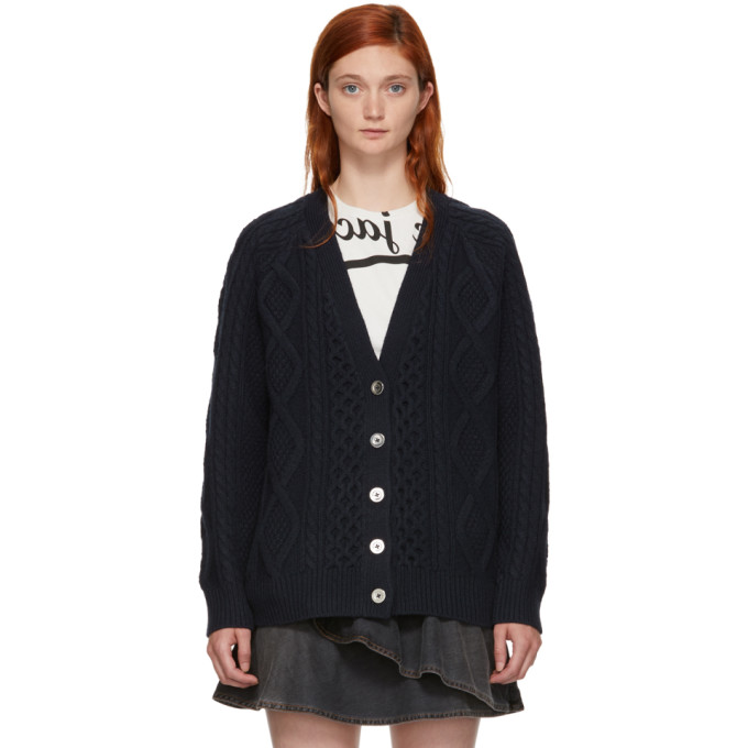 31 Phillip Lim Navy Aran Cable Cardigan