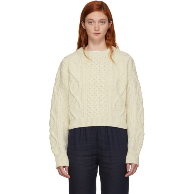 31 Phillip Lim Off White Cropped Boxy Aran Cable Sweater