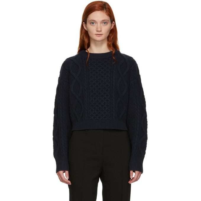 31 Phillip Lim Navy Cropped Boxy Aran Cable Sweater