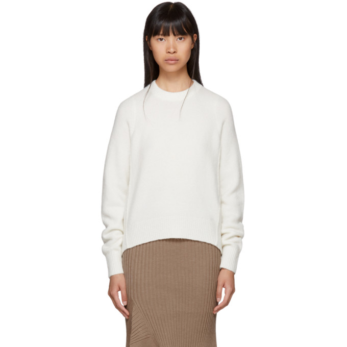 31 Phillip Lim Off White Inset Shoulder High Low Sweater