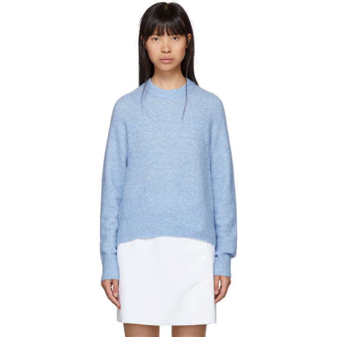 31 Phillip Lim Blue Inset Shoulder High Low Sweater