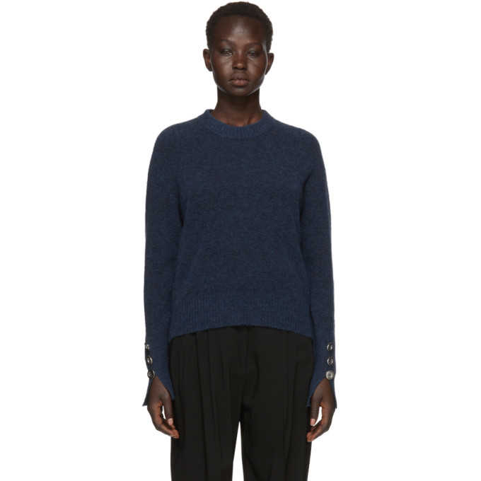 Crewneck High-Low Pullover Sweater, Me463 Blue