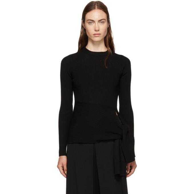 31 Phillip Lim Black Waist Tie Sweater