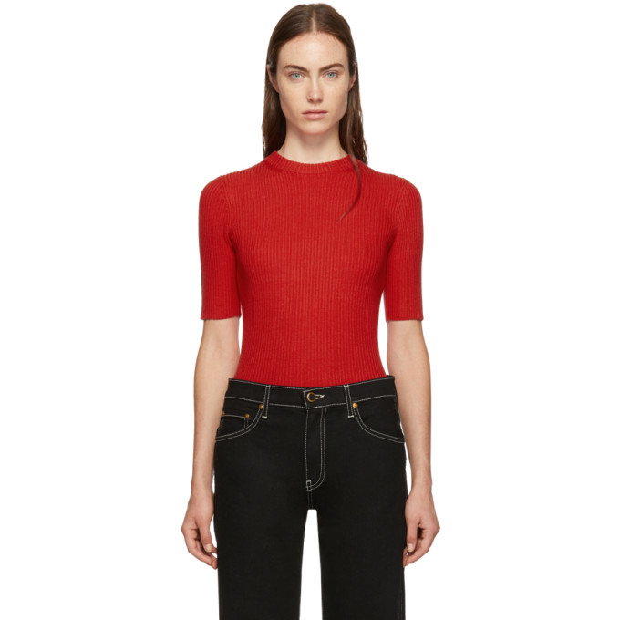 31 Phillip Lim Red Ribbed Short Sleeve Sweater