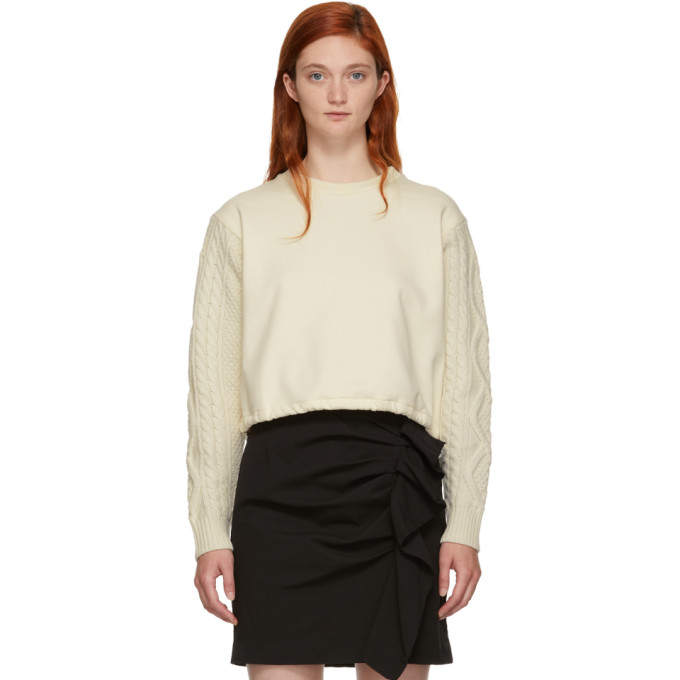 31 Phillip Lim Off White Panelled Cable Knit Sweatshirt