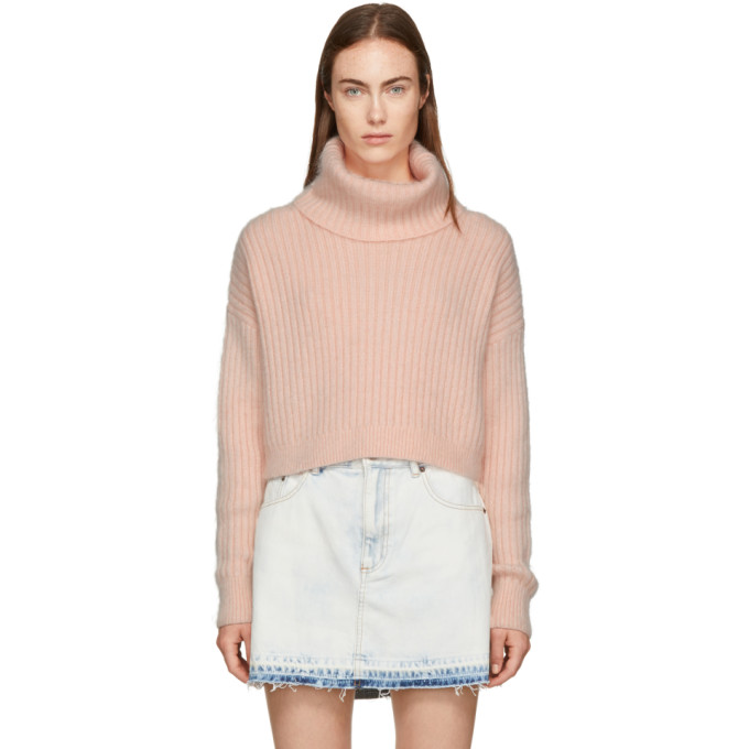 31 Phillip Lim Pink Mohair Cropped Turtleneck