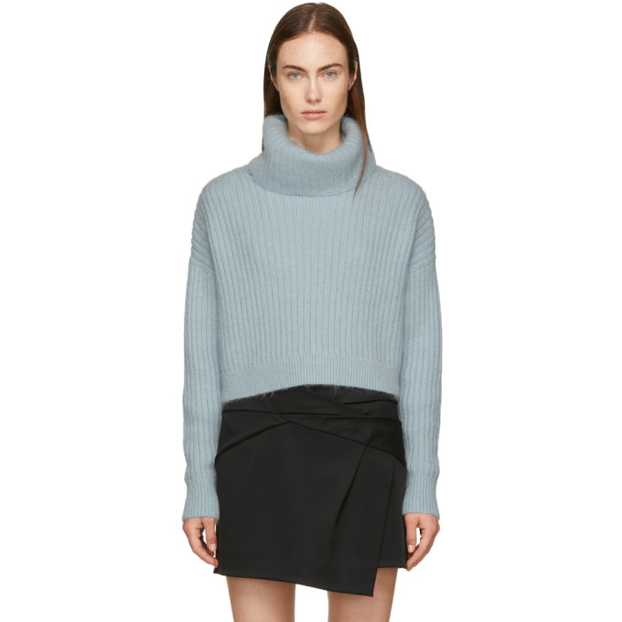 31 Phillip Lim Blue Mohair Cropped Turtleneck