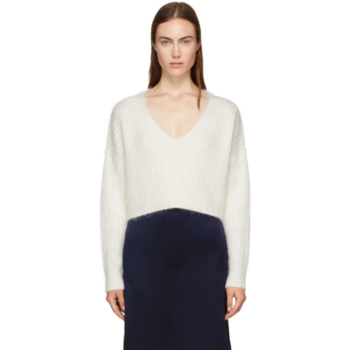 31 Phillip Lim White Mohair Cropped Sweater