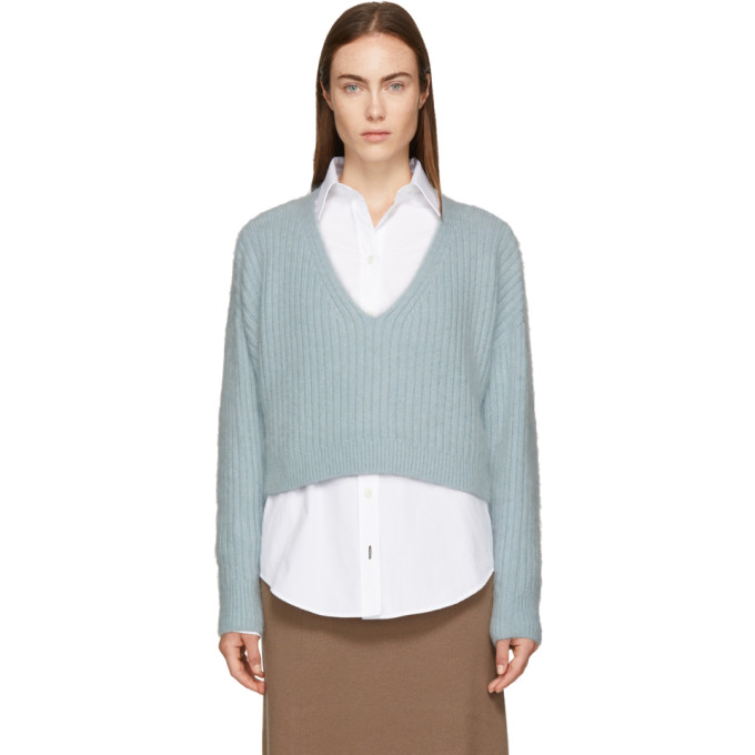 31 Phillip Lim Blue Mohair Cropped Sweater