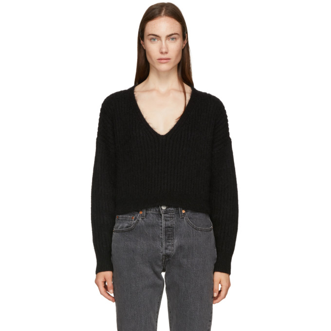 31 Phillip Lim Black Mohair Cropped Sweater