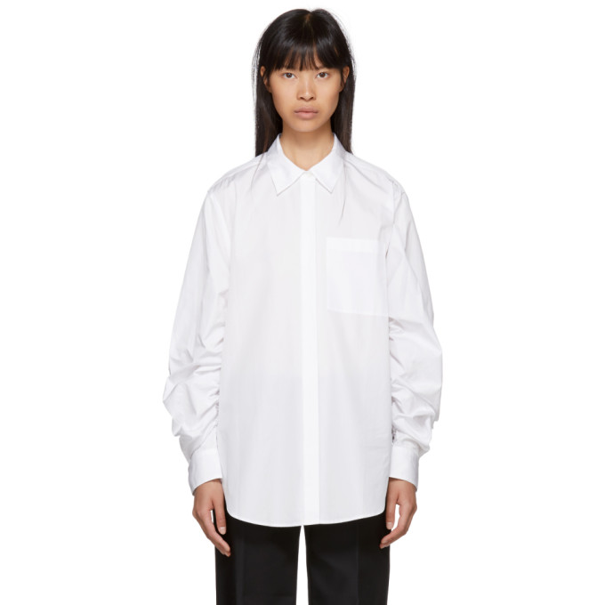 31 Phillip Lim White Gathered Sleeve Shirt