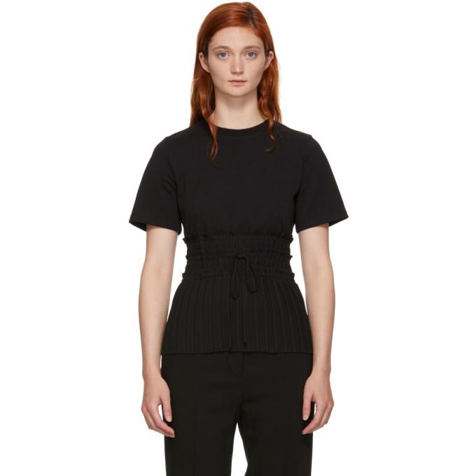 31 Phillip Lim Black Pleated Waist T Shirt