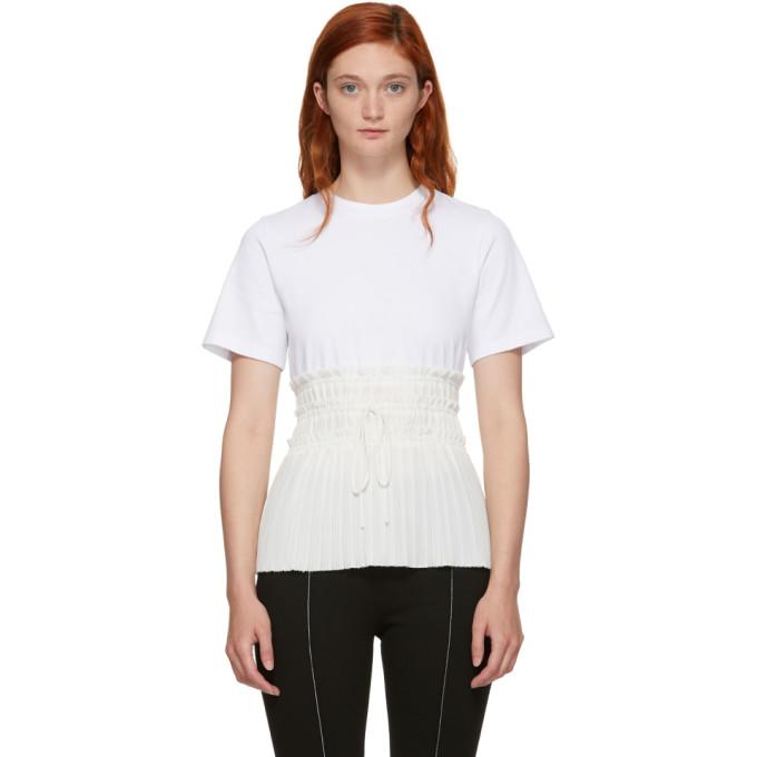 31 Phillip Lim White Pleated Waist T Shirt
