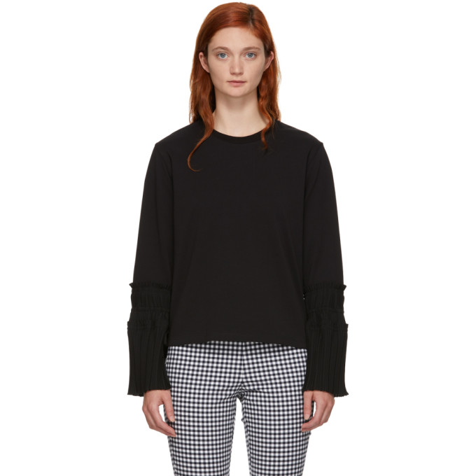 31 Phillip Lim Black Long Sleeve Pleated Cuff T Shirt