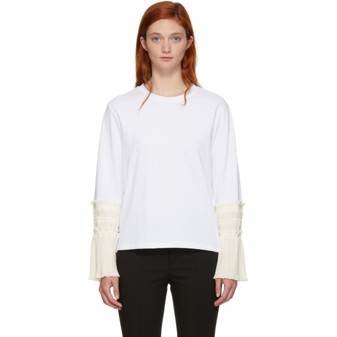 31 Phillip Lim White Long Sleeve Pleated Cuff T Shirt